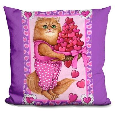Persian Cat Bowl of Hearts Throw Pillow