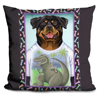 Rottweiler Dinosaur Throw Pillow