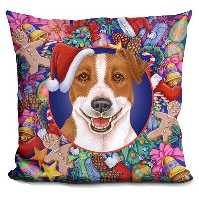 Berkey Christmas Jack Russel Throw Pillow