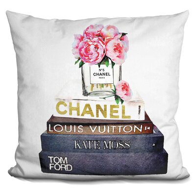 Jane Street Peonies and Fashion Books Throw Pillow
