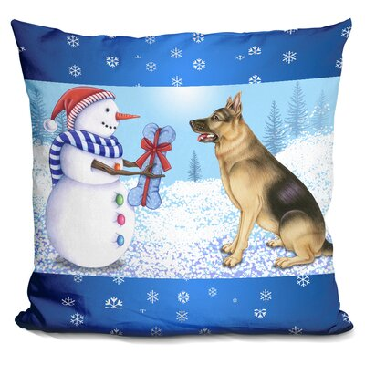 Snowman Dog Throw Pillow