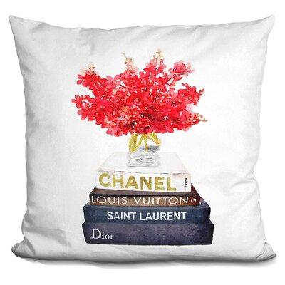 Janney Book Satck Flowers Throw Pillow