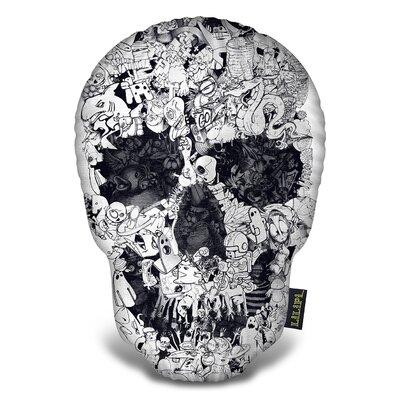 Doodle Skull Tee Throw Pillow
