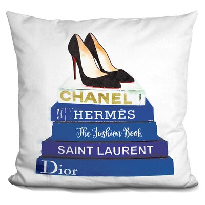 Jahn Stilettos Fashion Books Throw Pillow Color: Blue