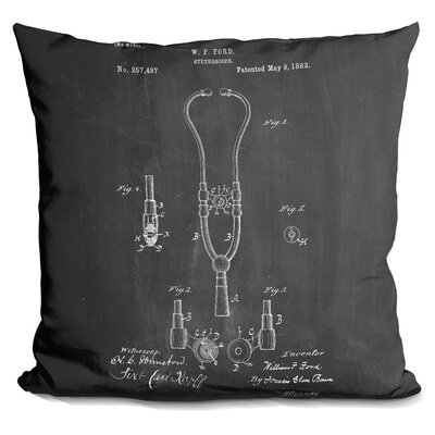 Caulkins Stethoscope Blueprint Throw Pillow Color: Black