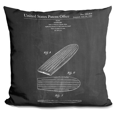 Chartier Surf Board Throw Pillow