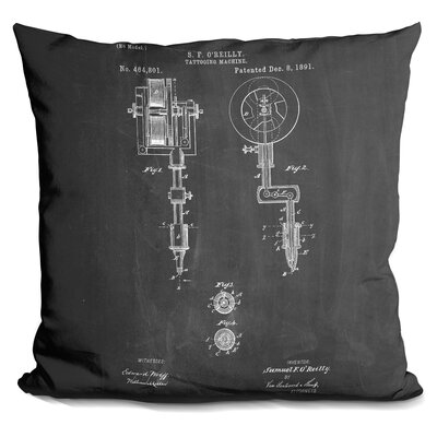 Chartrand Tatto Machine Throw Pillow Color: Black