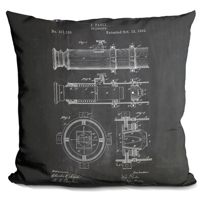 Cate Telescope Blueprint Throw Pillow Color: Black