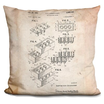 Chason Toy Brick Throw Pillow Color: Beige