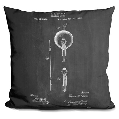 Chamness Light Bulb Edison Throw Pillow Color: Black