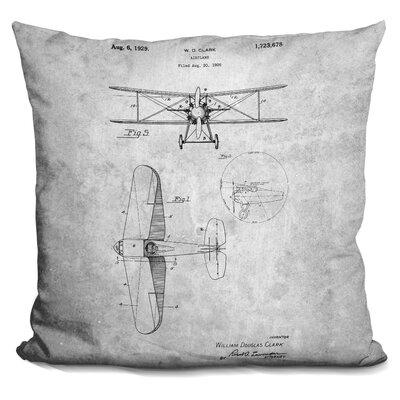 Chatman W D Clark Plane Throw Pillow Color: Gray