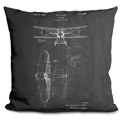 Chatman W D Clark Plane Throw Pillow Color: Black