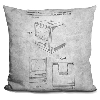 Chauvin Vintage Computer Blueprint Throw Pillow