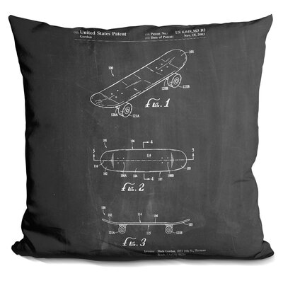Campuzano Skateboard Throw Pillow Color: Black