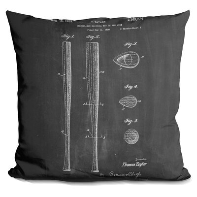 Camryn Baseball Bat Throw Pillow Color: Black