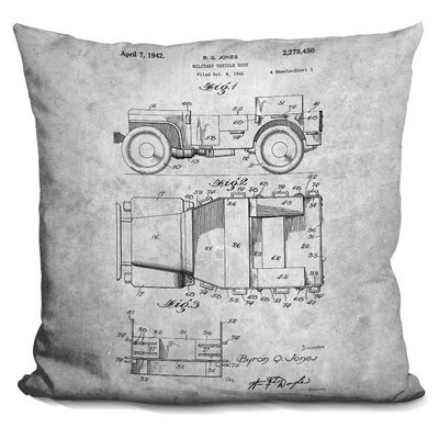 Chavis Vintage Car Blueprint Throw Pillow