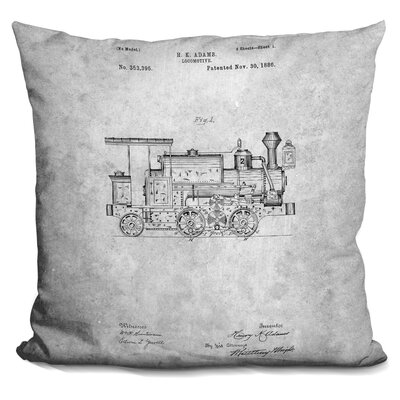 Chea Locomotive Blueprint Throw Pillow