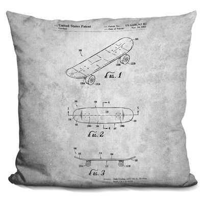 Campuzano Skateboard Throw Pillow Color: White