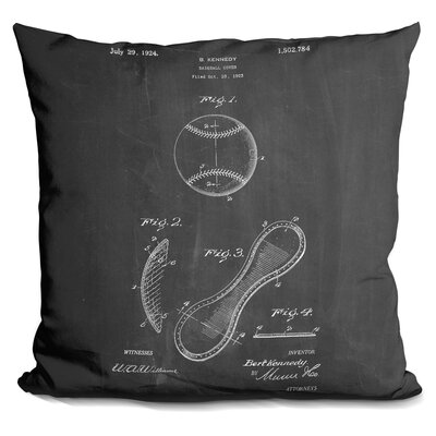 Camryn Baseball Cover A Throw Pillow Color: Black