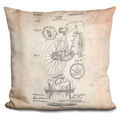 Canas Bicycle Throw Pillow Color: Beige