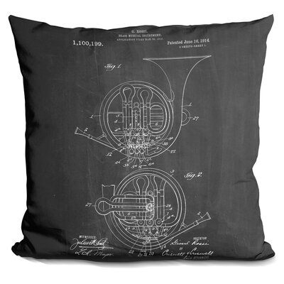Cearley Brass Print Throw Pillow Color: Black