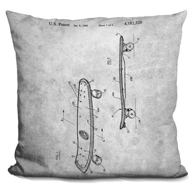 Campuzano Skateboard Blueprint Throw Pillow