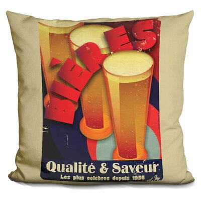 Bieres Qualite and Saveur Throw Pillow