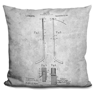 Cedeno Hockey Stick Blueprint Throw Pillow