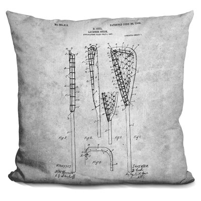Cana Lacrosse Stick Blueprint Throw Pillow
