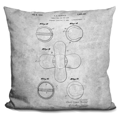 Canady Tennis Ball Blueprint Throw Pillow