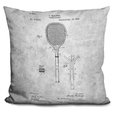 Canady Tennis Racket Blueprint Throw Pillow