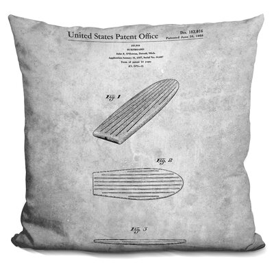 Cendejas Surfboard Blueprint Throw Pillow