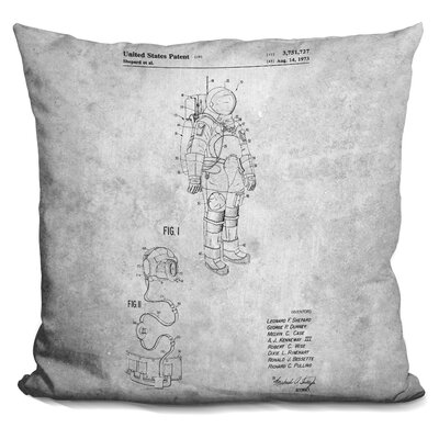 Space Suit Blueprint Throw Pillow