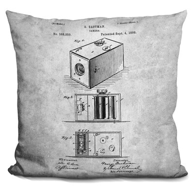 Center Drive Vintage Camera Blueprint Throw Pillow