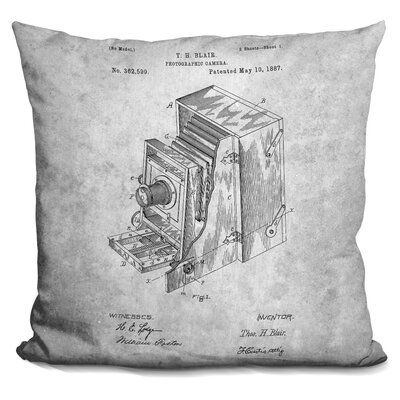 Cephas Vintage Camera Blueprint Throw Pillow