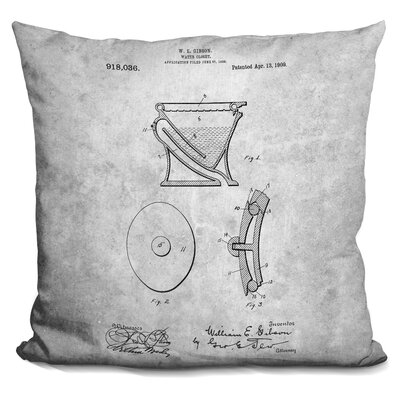 Ceron Water Closet Blueprint Throw Pillow