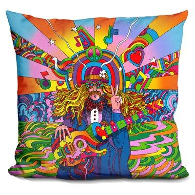 Hippie Musician Throw Pillow