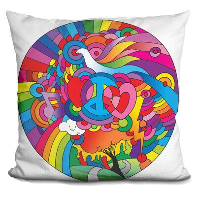 Love Music Circle Throw Pillow Color: Pink/Green