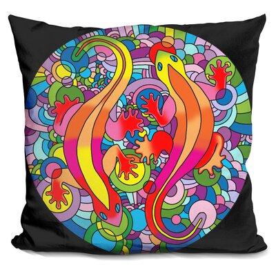 Salamanders Throw Pillow Color: Blue/Yellow