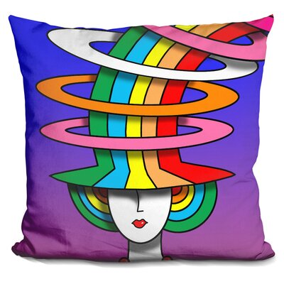 Lady Hat Throw Pillow Color: Purple/Green