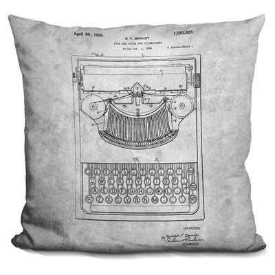 Casteel Typewriter Blueprint Throw Pillow