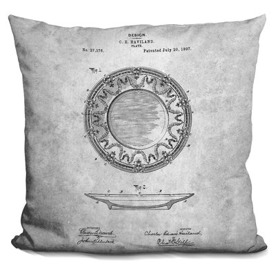 Cespedes Plate Blueprint Throw Pillow