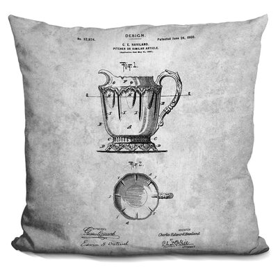 Cevallos Teapot Blueprint Throw Pillow