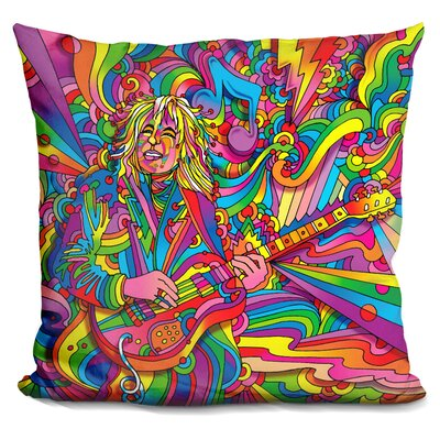 Guitar Player Throw Pillow Color: Red/Yellow