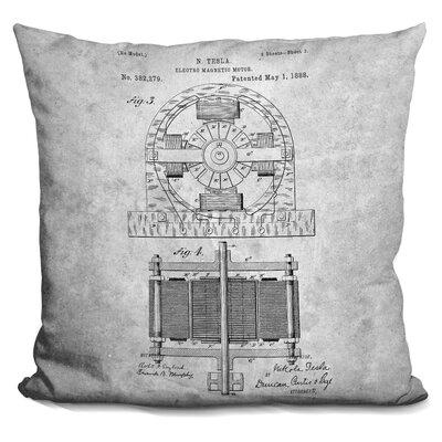 Catchings Tesla Motor Blueprint Throw Pillow