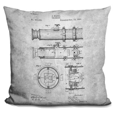Cate Telescope Blueprint Throw Pillow Color: Gray