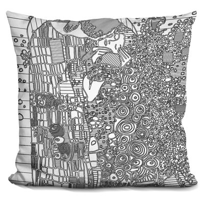 The Kiss Throw Pillow Color: Black/White