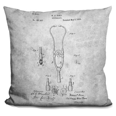 Caulkins Stethoscope Blueprint Throw Pillow Color: Gray