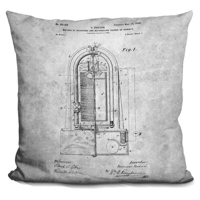 Causey Recording Machine Blueprint Throw Pillow