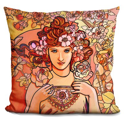 Mucha Lady Throw Pillow Color: Yellow/Brown